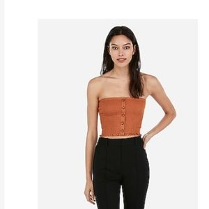 Express One Eleven Button Front Smocked Crop Top S